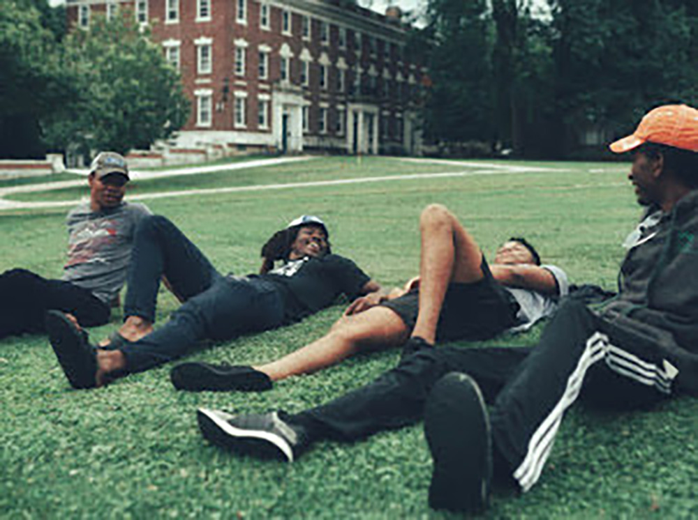 students lounging on Frosh Quad
