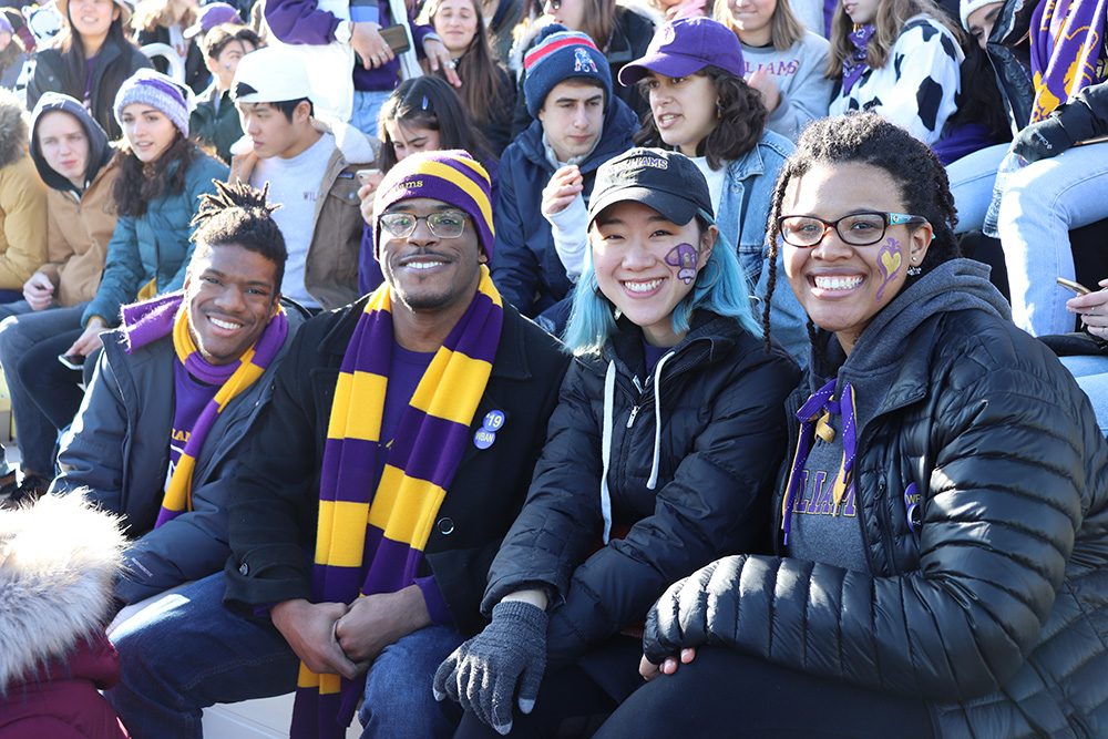 student fans at football game