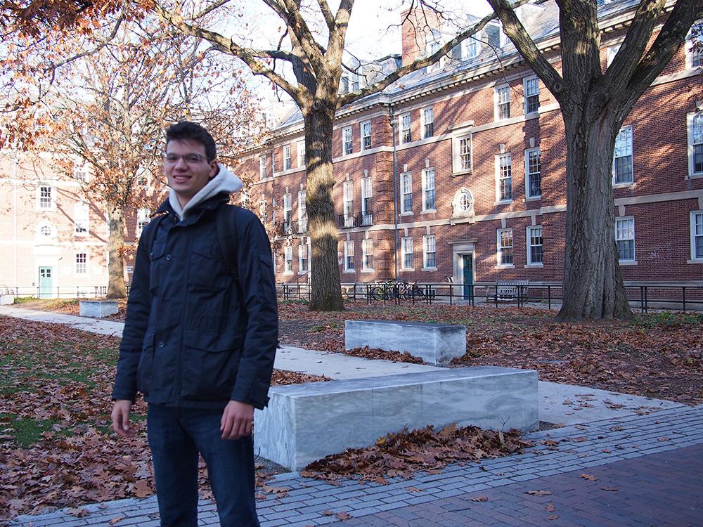 student posing in Frosh Quad