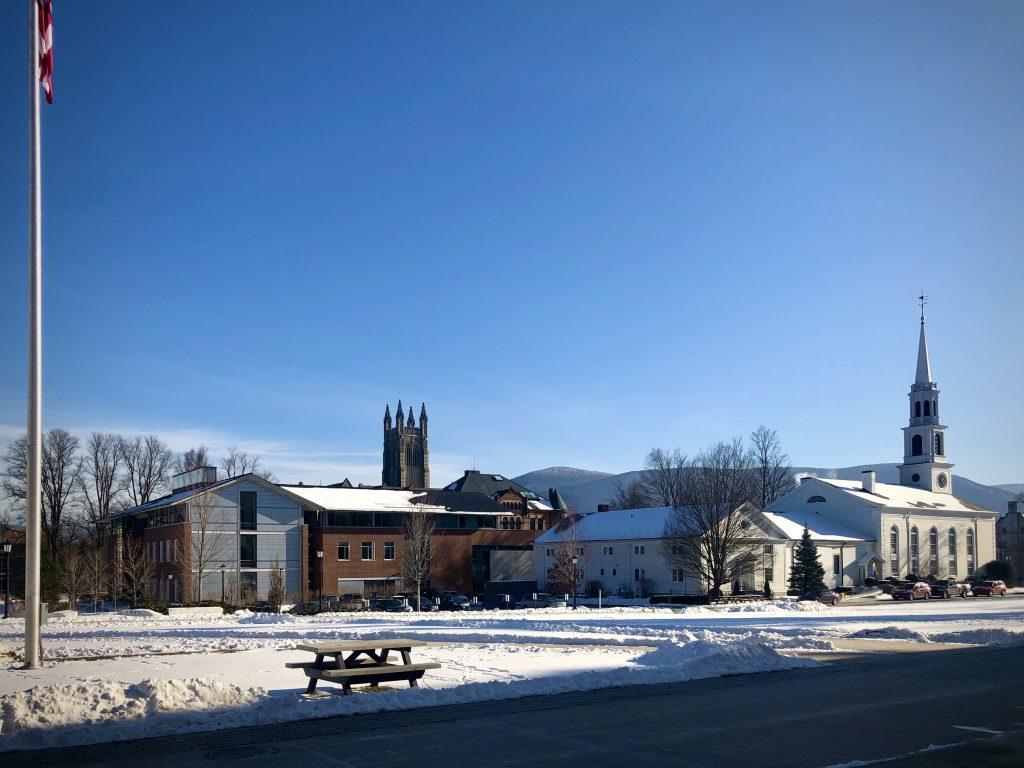 snow on ground outside Paresky Student Center
