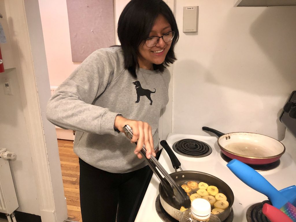 Student cooking in dorm