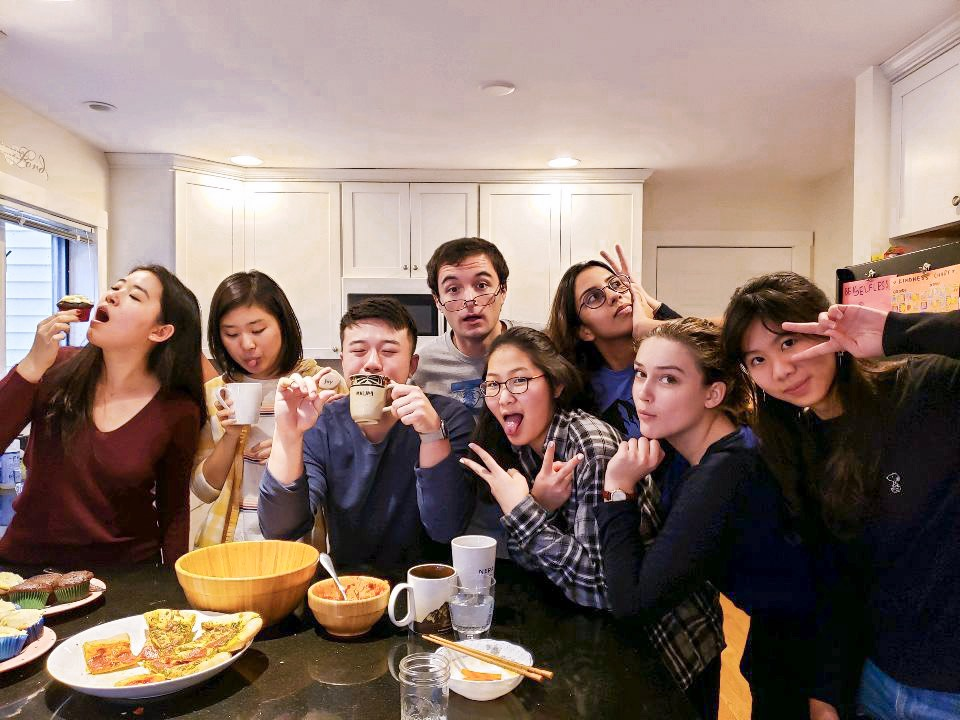 Group of students eating