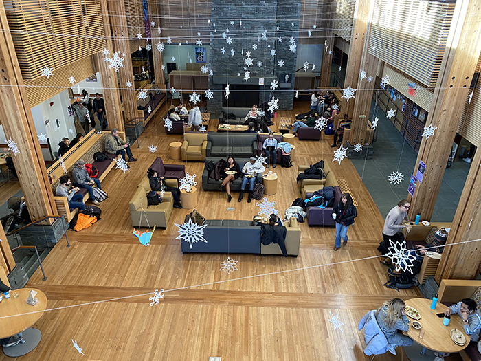 View from above of Paresky Great Hall
