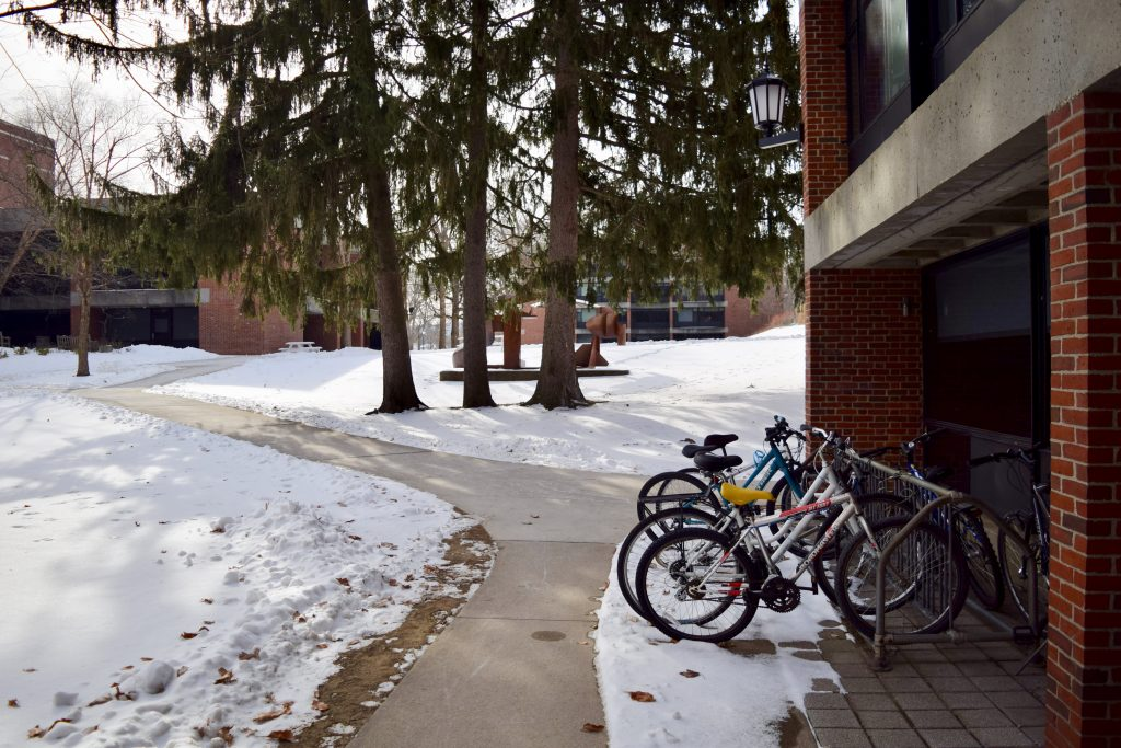 Bicycles in rack in the snow